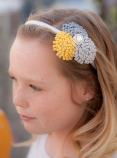 Remington felt pom pom headband in yellow by pirouettesponytails, $12.50