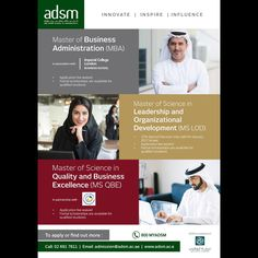 Get your Master's Degree in Abu Dhabi School of Management. ADSM offers Master of Business Administration (MBA) Master of Science in Leadership and Organizational Development & Master of Science in Quality and Business Excellence. http://www.edarabia.com/133870/abu-dhabi-school-of-management-abu-dhabi-uae/