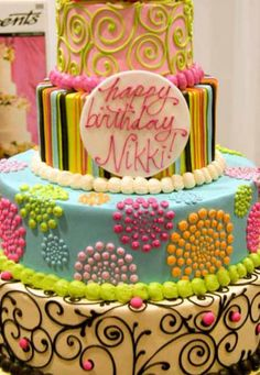 Whimsical birthday cake by The White Flower Cake Shoppe