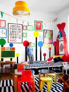 12 Great Kids Rooms: What's black and white with primary pops all over? Those trees that look to be right out of The Lorax. It belongs to the son of Klara Ripa, the mom behind Swedish lifestyle blog Pippivogel.
