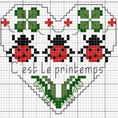 Ladybug, 4 leaf clover & lily of valley heart Small Cross Stitch, Butterfly Cross Stitch, Cross Stitch Heart, Cross Stitch Flowers, Cross Stitch Designs, Cross Stitch Patterns, Embroidery Hearts, Cross Stitch Embroidery, Blackbird Designs