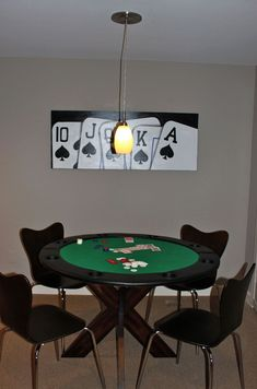Poker table for boys - commissioned art - table top folds up leaving room to eat, pendant screws into any canned light, mcubed interiors Poker Party Foods, Contemporary Dining Chairs, Bar, Interior Design Living Room, Man Cave, Family Room, House, Furniture, Poker Cupcakes