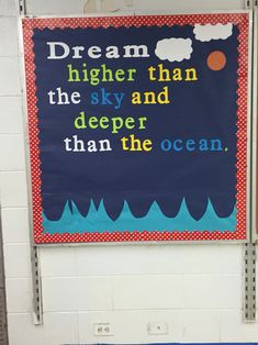 I added a mermaid tail and starfish after I I took this pic. Classroom Bulletin Boards, Classroom Door, Future Classroom, Classroom Themes, Classroom Organization, Ocean Bulletin Board, Ocean Themes, Beach Themes, Motivational Bulletin Boards
