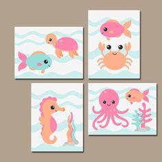 Chica mar vivero pared arte, lona o impresiones, bebé niña guardería náutica arte, hijo hermana cuarto de baño, decoración de animales de mar chica, juego de 4