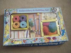 VINTAGE GIRLS EMBROIDERY + KNITTING SET - 8/6d