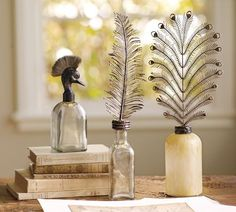 Pottery Barn - Feather Topped Bottles - Not sure what I'd use these for but theyre so pretty!
