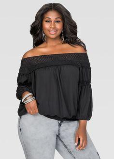 66fe50b7a86253 Crochet Off-Shoulder Peasant Top-Plus Size Tops-Ashley Stewart-035-FTW366911