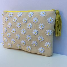 White lace  daizies clutch hand applique on strong off white canvas  and lime beads, One of a kind handmade pouch, accessories case by Apopsis on Etsy