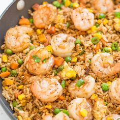 Easy Betterthantakeout Shrimp Fried Rice With Sesame Oil Canola Oil Shrimp Frozen Peas Corn Garlic Cloves Ground Ginger Large Eggs Cooked Rice Green Onions Low Sodium Soy. Shrimp Recipes Easy, Healthy Recipes, Seafood Recipes, Asian Recipes, Dinner Recipes, Cooking Recipes, Dinner Ideas, Easy Recipes, Chinese Shrimp Recipes