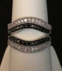 10kt White Gold Solitaire Enhancer Black White Diamonds Ring Guard Wrap Gold (0.50ct. tw)...(RG221688825248).! Price: $512.99 #gold #diamonds #ringguard #wrap #enhancer #fashion #jewelry #love #gift