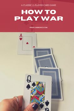 War is a classic 2-player game. Check out www.cambionco.com for the full rules and how to make this an educational game! Playing Card Games, Player Card, Educational Activities, Deck Of Cards, Party Ideas, War, Classic, Check, Derby