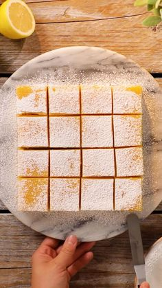 Homemade Lemon Bars Recipe- easy to make and delicious! Enjoy this refreshing lemon bars recipe that's prefect for dessert or a fun treat! Lemon Desserts, Lemon Recipes, Sweet Recipes, Delicious Desserts, Yummy Food, Delicious Chocolate, Small Desserts, Tasty, French Desserts