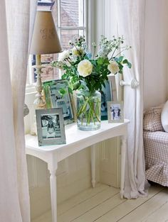 english cottage bedroom | wardrobe made from old shutters fits an alcove in master bedroom.