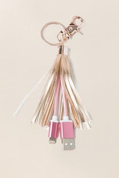 Rose Gold USB Charger Tassel Keychain-  gift-cl