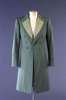 Bridegroom's outfit. This modern day frock coat was designed by Savile Row tailor Tommy Nutter for Summer 1975.  Chosen as Dress of the Year for the Fashion Museum, Bath in 1975.