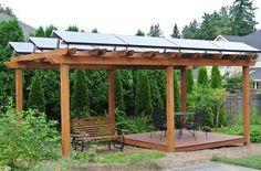 Solar panel's on a garden pergola.