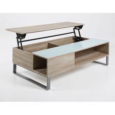 AC Design Furniture 63722 Couchtisch Nikolaj Mit Liftfunktion Und Stauraum,  Sonoma Eiche Nachbildung, Ca. 110 X 35 X 60 Cm, Weißglas