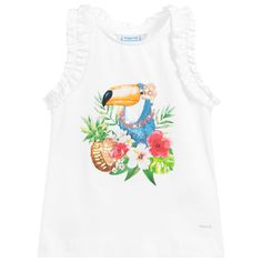 Girls White Cotton T-Shirt White Cotton T Shirts, Kids Online, White Tops, Shirts For Girls, Kids Outfits, Cotton Fabric, Mens Tops, Clothes, Tropical