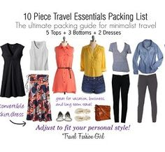 #1 Travel Packing Tip: Love What You Pack Think about how good it feels to crawl into your favorite cozy sweatshirt or worn in pair of jeans at home. When you only have a few items of clothing, make every piece count. Love what you're wearing! Travel with things that make you feel good instead of items you think you should pack based on an archaic travel packing list.  10 Piece Travel Essentials Packing List Spring 2013