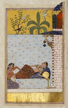 Chanda's love-sickness - Creator Maulana Daud of Dalmau - Created 1530-1540 - Possibly Malwa