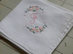 Vintage swiss made embroidered Hanky handkerchief - initial F