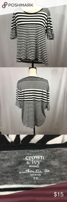 """Crown & Ivy The Authentic Tee Striped 2XL Crown & Ivy """"the authentic tee"""". Jersey knit b/w striped, 3/4 sleeve. Women's size 2XL. Gently worn with no flaws.  Measurements: Across the Chest: 23"""" Shoulder to Hem: 25.5"""" Sleeve Length: 12.5"""" Crown & Ivy Tops Tees - Long Sleeve"""