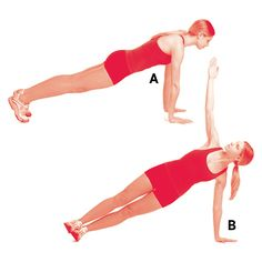 Get into a pushup position with your hands on the floor directly below your shoulders (a). Lower yourself to the floor. As you push yourself up, rotate the right side of your body upward, lift your right arm, and roll onto the outside of your left foot. Straighten your right arm so your fingertips point toward the ceiling (b). Hold for one second before returning to the pushup position. Repeat, this time rotating left and reaching up with your left arm. That's one rep. Do five.