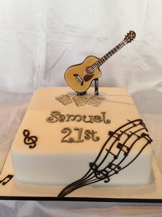 Music. Guitar. 21st cake for a guy. Man. Boy. By Heavenly. Creations