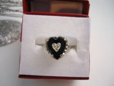 Art Deco Ring  Heart Shaped Black Onyx Ring by GranvilleGallery,