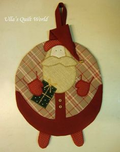 Colcha Mundial de Ulla: acolchado Santa Claus agarradera y Patrón