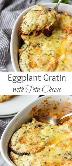 Tender eggplant is layered with a tomato sauce, basil, Gruyere and drizzled with a creamy Feta cheese sauce. Baked until bubbly perfection. This Eggplant Gratin is a perfect easy side dish!