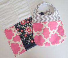 Baby Bib Burp Cloth / Hot Pink Grey Chevron Baby Gift Set / Designer Baby Bibs / Premium Cotton Prefold Burpcloths