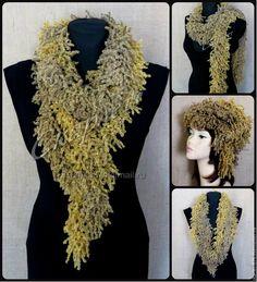 Купить Шарф-боа из фантазийной полушерстяной пряжи - шарф, шарф-бусы, боа, шарф-боа