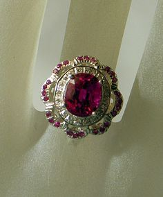 Pink Topaz Ring  Size 6  With Little Rubies And White by JanEleven