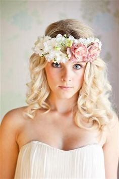 Floral head band with pink flowers,Midsummer - Wedding Hair photos. 1000s of bridal hair styles - Love Hair