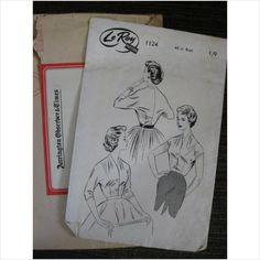 """Vintage 1950's LeRoy pattern 1124 ladies  Magyar blouse Bust 40"""" - purplestevie ebid"""