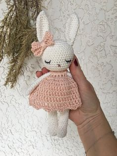 Lovely amigurumi animal bunny girl with lovely dress, hand crochet soft cuddly toy, perfect soft cuddly toy for your child Schöne Amigurumi Tier Hase Mädchen mit schönen Kleid Hand Bunny Crochet, Easter Crochet, Hand Crochet, Crochet Toys, Bunny Girls, Baby Bunnies, Mercerized Cotton Yarn, Easter Toys, Crochet Buttons
