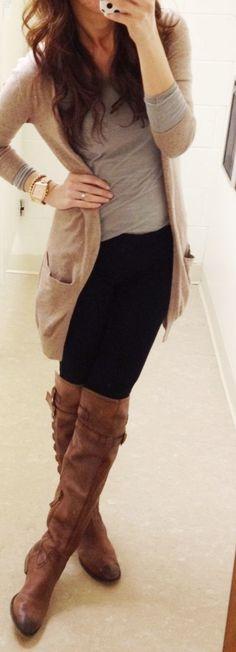 Tan cardigan + long sleeve grey tee + gold watch + black pants + tall suede brown boots