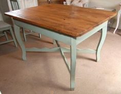 19th Century Painted Kitchen Table; @Melanie Ridgeway Wondering if we could do something like this with our round table?