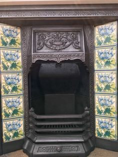 Victorian Style Tiled Cast Iron Fireplace With Painted Wooden Surround