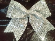 """Bling Luxury Cheer Bow! Silver Big 3"""" Texas Size Sparkly """"Rhinestone"""" Bow-Other Colors! Discounts for Team Cheer Bows Orders! Competitions!"""