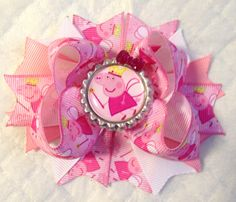 SOLD!!! Peppa Pig Bow/Peppa Pink Bow/Peppa Bow/Peppa Fairy Bow/Peppa Pig Girls Hair Bow/Boutique Style Hair Bow/Girly Curl Bow/Stacked Bottle Cap by GirlyCurlBowtique on Etsy