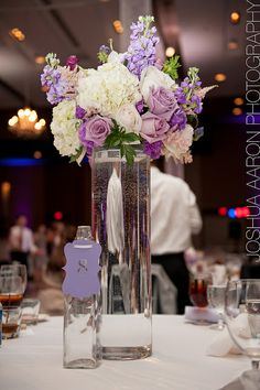 Guest table centerpiece - Tall cylinder - Hydrangeas, lavender roses, garden roses, stock and astilbe | Flickr - Photo Sharing!