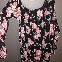 Off the Shoulder Floral Dress F21- size large- flowy sleeves with a gathering just above the elbow- black lining underneath with a sheer black outer fabric - pink and black Forever 21 Dresses Strapless