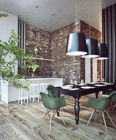 10 industrial dining room design - Home Decor Sweet Home, Exposed Brick Walls, Industrial Dining, Industrial Style, Eames Chairs, Dining Chairs, Room Chairs, Deco Design, Design Blog
