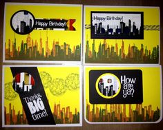 Masculine Inspirations in Paper & Crafts: Welcome to my new blog--Bright Lights,  Big City cards