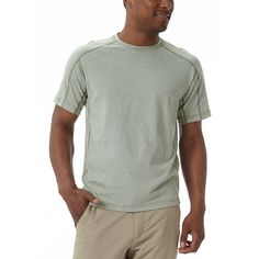 You can wear this summertime t-shirt all year 'round. It's lines give it interest, and the heathered colors are unique. They really pop-under a button-down short sleeve shirt. Try it out with your favorite Royal Robbins shorts or pants.