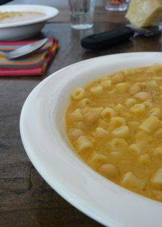 Pasta e ceci (chickpea and pasta soup), a favorite winter soup and comfort food in Rome, Italy and elsewhere!