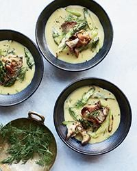 Lemony Roasted Asparagus Soup | Chef Cassie Piuma prepares her version of the lemony Greek soup avgolemono with a broth made from asparagus trimmings. Her other unconventional additions include roasted asparagus and oyster mushrooms.