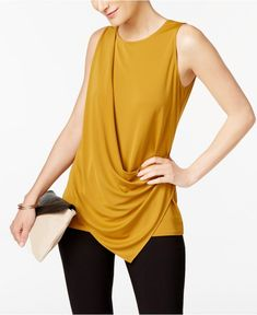 Alfani Draped Top, Created for Macy's - Tops - Women - Macy's Sewing Blouses, Asymmetrical Tops, Petite Outfits, Sweater Set, Blouse Designs, Fashion Dresses, 50 Fashion, Fashion Women, Plus Size Fashion